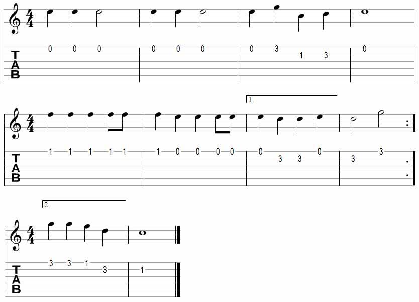 Jingle Bells Guitar TAB